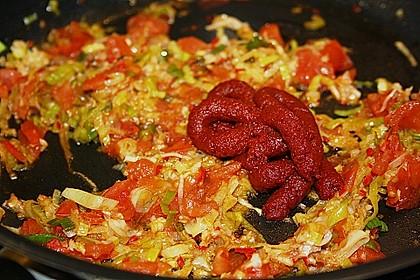 Knoblauch-Spaghetti mit Lauch und Tomate 41