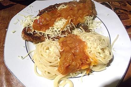 Knoblauch-Spaghetti mit Lauch und Tomate 42