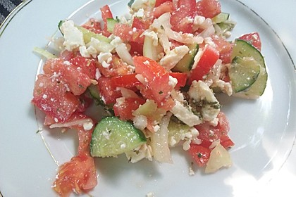 Gurken, Tomaten, Feta Salat 20