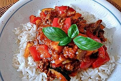 Zucchini - Gemüse - Pfanne mit Hackfleisch und Reis (Bild)
