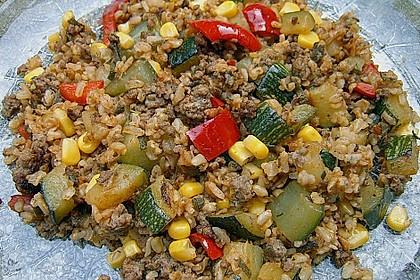 Zucchini - Gemüse - Pfanne mit Hackfleisch und Reis 1