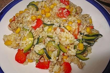 Zucchini - Gemüse - Pfanne mit Hackfleisch und Reis 3