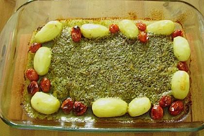 Victoriabarschfilet mit Rucola - Parmesan - Haube