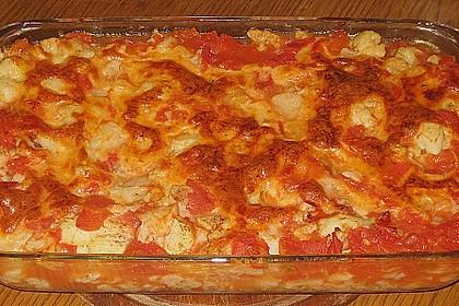 Blumenkohl mit Käse - Tomaten - Sauce (Bild)