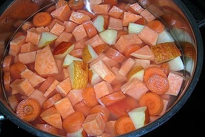 Süßkartoffel - Apfel - Suppe mit Curry 2