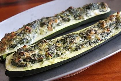 Zucchini mit Ziegenkäse - Spinat - Füllung 2