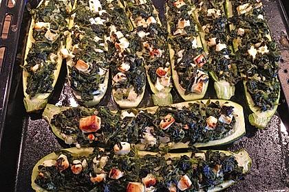 Zucchini mit Ziegenkäse - Spinat - Füllung 5