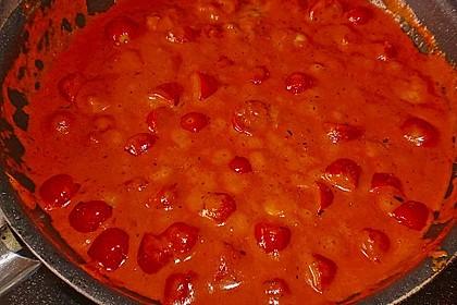 Garnelen in fruchtig, scharfer Sauce auf Nudeln 23