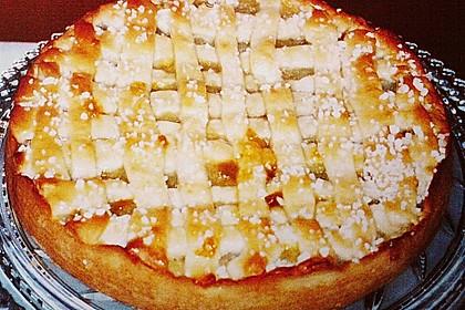 Apfelkuchen aus Hefeteig mit Gittern 27