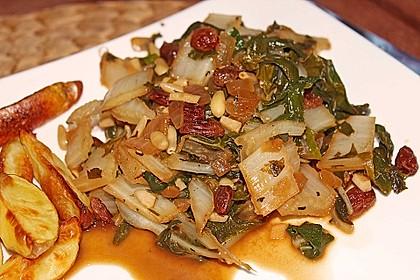 Mangold - Gemüse mit Sardellen, Pinienkernen und Rosinen