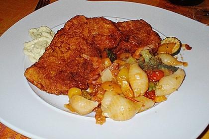 Schnitzel á la Kalli mit Torro - Rosso - Nudel - Gemüse