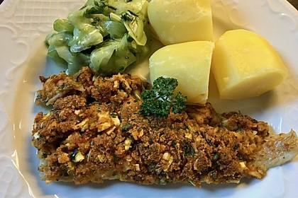 Fischfilet unter Zucchini - Kräuter - Kruste