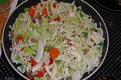 Reispfanne mit Chinakohl 1