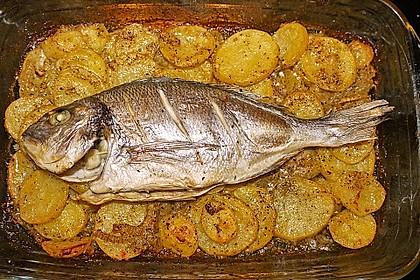 Gebackene Dorade mit scharfen Ofenkartoffeln 9