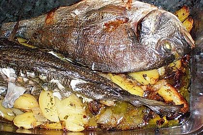 Gebackene Dorade mit scharfen Ofenkartoffeln 25