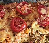 Nudelauflauf mit Kochschinken und Tomaten (Bild)