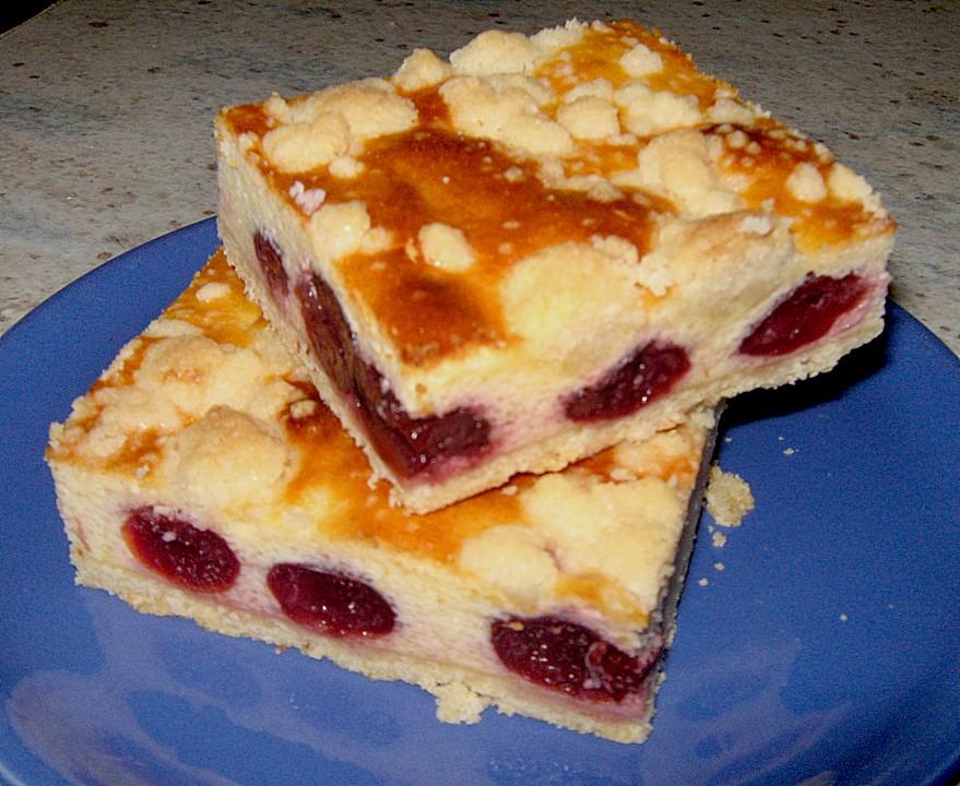 Quarkkuchen Mit Kirschen Und Streuseln Blechkuchen Murbeteig Von
