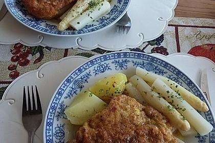 Spargel mit Schweineschnitzel Wiener Art und Kartoffelbrei