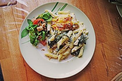 Nudelauflauf mit Spinat und Lachs 7