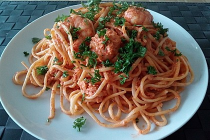 Pasta mit Knoblauch - Tomaten - Shrimps 12