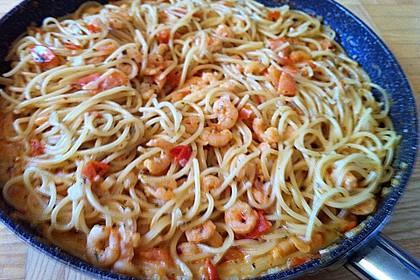 Pasta mit Knoblauch - Tomaten - Shrimps 17