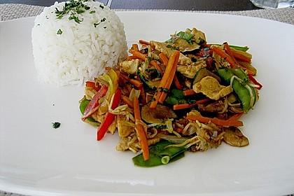 Gebratenes Gemüse mit Hähnchen - Pad Pak Gai 3