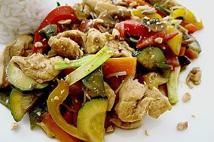 Gebratenes Gemüse mit Hähnchen - Pad Pak Gai 5