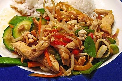 Gebratenes Gemüse mit Hähnchen - Pad Pak Gai 7