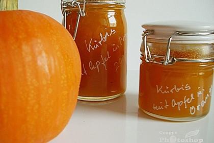 Kürbis - Marmelade mit  Apfel, Orange und Ingwer