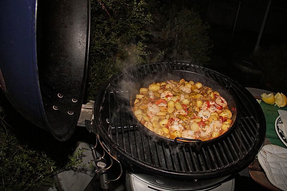 Grillpfanne Für Holzkohlegrill : Garnelenpfanne für den grill von anita chefkoch