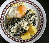 Kartoffeln, Spinat, Käse und Ei (Bild)