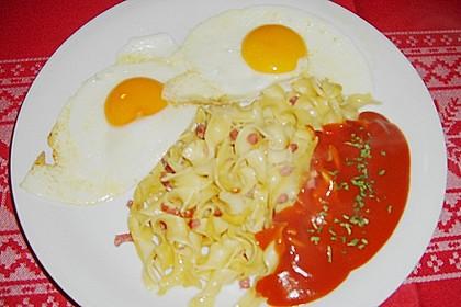 Gebratene Makkaroni mit Ei und Speck 1