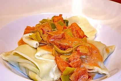 Maultaschen mit Lauch - Tomaten - Gemüse 4