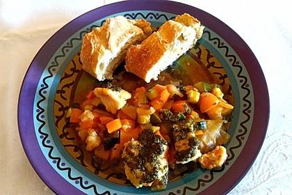 Gebratener Lachs auf mediterranem Gemüse 1