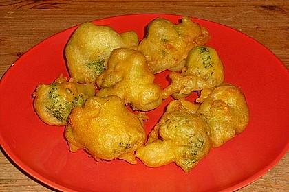 Zwiebelringe und Brokkoli im Bierteig 13