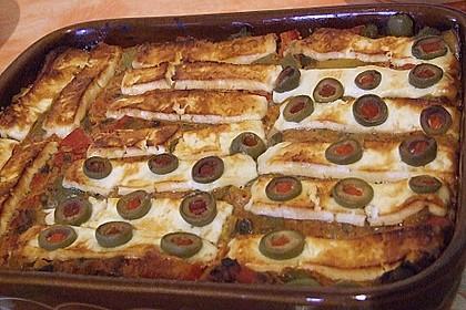 Leberkäse mit Paprika und Schafskäse überbacken 1