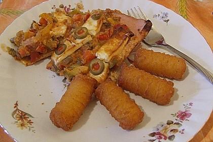 Leberkäse mit Paprika und Schafskäse überbacken