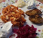 Griechische Reisnudelpfanne mit Hähnchenbrustfilet (Bild)
