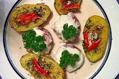 Illes leicht gefüllte Champignonköpfe auf Ofenkartoffeln 18