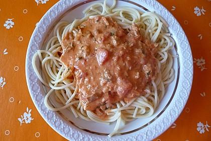 Nudeln in leichter, sämiger Thunfisch-Tomaten-Käse Sauce 89