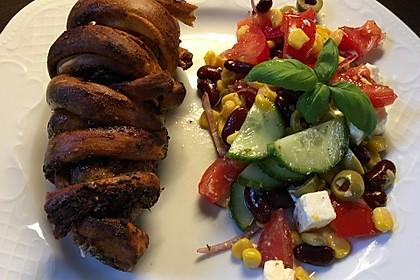 Grillspieß mit Huhn und Brezenteig 38