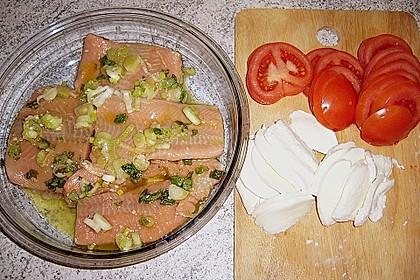 Marinierter Lachs, überbacken mit Tomaten und Mozzarella 15