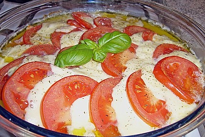 Marinierter Lachs, überbacken mit Tomaten und Mozzarella 8