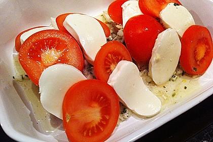 Marinierter Lachs, überbacken mit Tomaten und Mozzarella 14