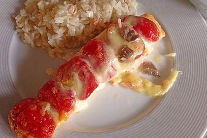 Marinierter Lachs, überbacken mit Tomaten und Mozzarella 16