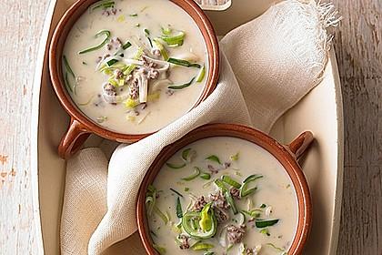Lauch-Kartoffel-Suppe mit Croûtons Rezept | LECKER
