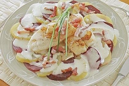 Rote Bete - Kartoffel - Carpaccio mit gebratenem Fischfilet 2