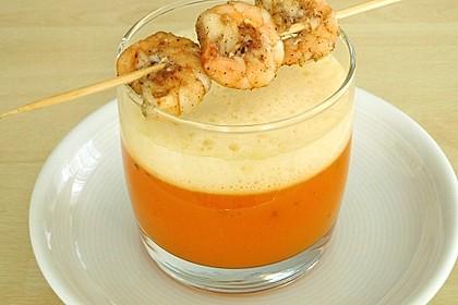 Latte Macchiato von der Karotte mit Garnelen - Spieß 1