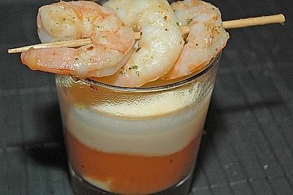 Latte Macchiato von der Karotte mit Garnelen - Spieß