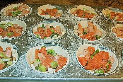 Quiches mit Lachs und Garnelen 3